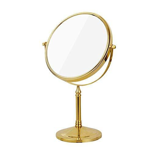 Bath Miroirs de Table Loupe Double Face Miroirs de Maquillage, grossissements 1 et 3 Fois avec Rotation de 360 degrés, Laiton,Gold_8inch