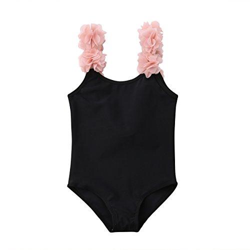 WangsCanis Baby Mädchen Schulterfrei Overall Bademode Elegant Blumen Schultergurt Rückenfrei Badeanzug Schwimmanzug (80/2-3Jahre alt, Schwarz)