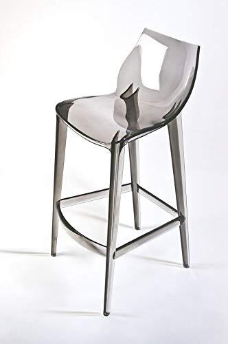 Mahi Mahi Sgabello Cucina Design - Set 2 Pezzi - in policarbonato Colore Fumè- MMFC001