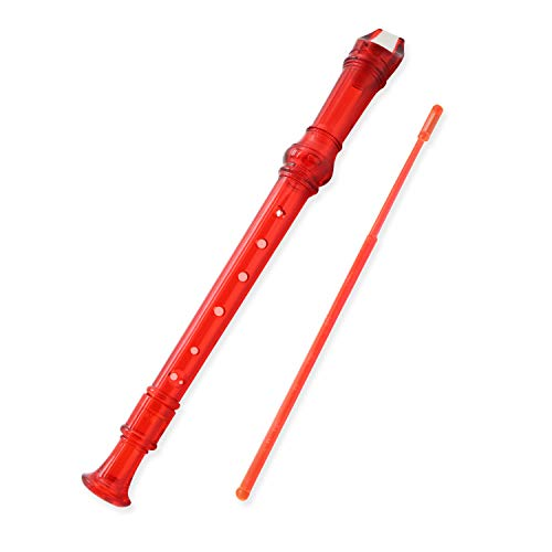 Descant Recorder 8-Hole Soprano Kids Music Flute With Cleaning Rod And Case Bag For School Student (Transparent Red)