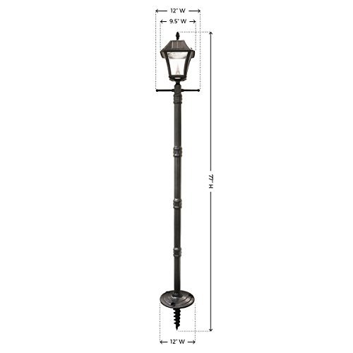 Gama Sonic GS-105S-G-WW Baytown II Lamp Outdoor Solar Light and Post with Ground EZ-Anchor, Black Finish