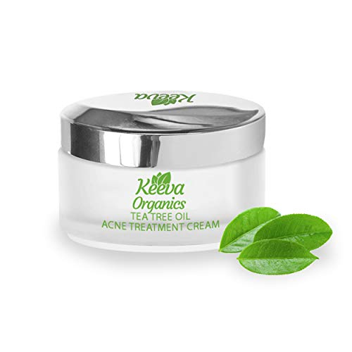 Keeva Organics TEA TREE OIL Acne Treatment Cream With Essential Oils - Perfect For Acne Scar Removal, Fighting Breakouts, Spots, Cystic Acne - See Results in Days Without Dry Skin (1oz)