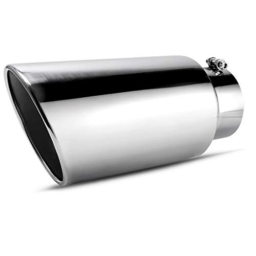 """AUTOSAVER88 5 Inch Inlet Chrome Exhaust Tip, 5"""" x 7"""" x 15"""" Inch Diesel Exhaust Tailpipe Tip for Truck, Bolt/Clamp On Design, Chrome-Plated Finish Stainless Steel Material."""