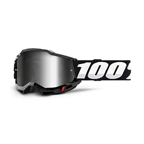 100% Accuri 2 Goggle, Erwachsene, Schwarz mit Spiegel Silber Linse