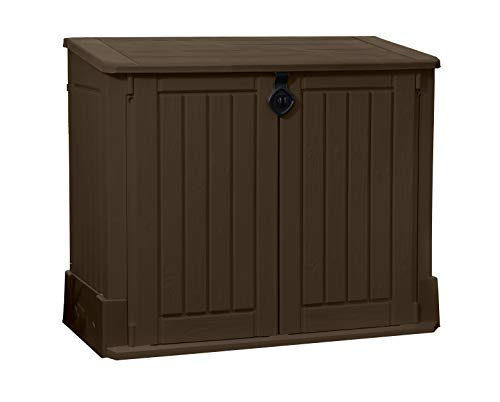 KETER Store-It-Out Woodland 4.25 x 2.4 Foot Resin Outdoor Storage Shed with Easy Lift Hinges, Perfect for Trash Cans, Yard Tools, and Pool Toys, Pack of 1, Brown