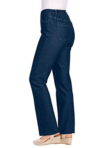 Woman Within Women's Plus Size Side-Elastic Straight Leg Cotton Jean - 26 W, Indigo Gray