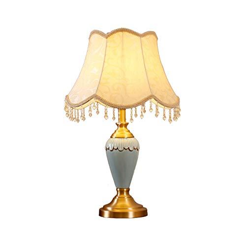 Lámparas de Mesa Lampara mesita noche Lámpara de mesa de mesa de cerámica de estilo retro Pantalla de tela E27 Interruptor de botón Sala de estar Dormitorio decorado Lámpara de escritorio, Azul claro,