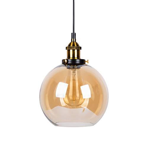 Huahan Haituo colgante luz Vintage Industrial Metal acabado cristal la bola de cristal redonda sombra Loft colgante Lámpara Retro Lamp Vintage luz de techo (Ámbar,20CM)