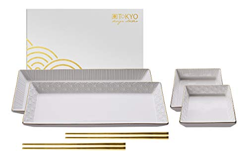 TOKYO design studio Nippon White Sushi-Set weiß, mit Goldrand, 6-TLG, 2X Sushi-Platten 2X Saucen-Schalen, 2X Essstäbchen, asiatisches Porzellan, Japanisches Design, inkl. Geschenk-Verpackung