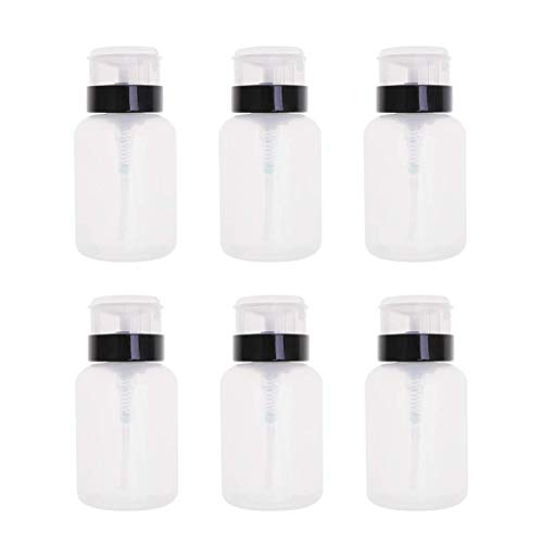 HZWLF Nail Art Tool, 250Ml Nail Polish Remover Bottle Vide Pressing Bottles Pump Dispensers for Fluid Nail Art (Black and White) 6Pcs