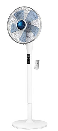 Rowenta Turbo Silence Extreme+ VU5870, 16 Inch Oscillating Stand Fan for Home and Office, Adjustable Height, 5 Speed Settings, 8 Hour Timer, 35dBA, White