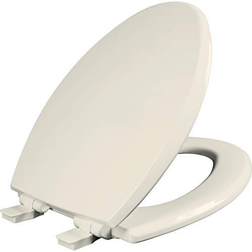 Mayfair 1847SLOW 346 Kendall Slow-Close, Removable Enameled Wood Toilet Seat that will Never Loosen, 1 Pack ELONGATED - Premium Hinge, Biscuit/Linen