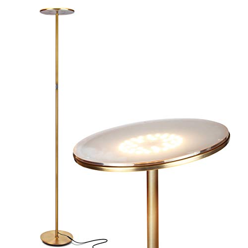 Brightech Sky LED Torchiere Super Bright Floor Lamp - Contemporary, High Lumen Light for Living Rooms & Offices - Dimmable, Indoor Pole Uplight for Bedroom Reading - Gold Brass