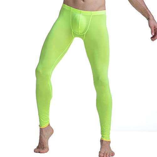 wear2me Men Ice Silk Underwear Mid-Rise Slim Legging Tight Pant Mesh Long Trousers Green M