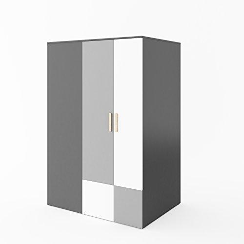 Furniture24 Eckkleiderschrank POK P00P, Eckschrank, Begehbarer Kleiderschrank mit 4 Einlegeböden, 2 Kleiderstangen, Innere LED Beleuchtung und Spiegel