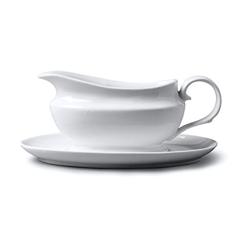 WM Bartleet & Sons 1750 T261 Wm Bartleet & Sons - Salsera tradicional de porcelana con platillo y soporte, 500 ml, color blanco