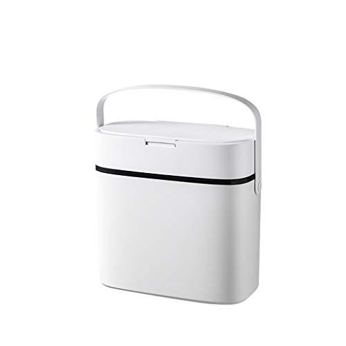 liushop Bote de Basura Creativo Hogar portátil Sellado Bote de Basura Sala de Estar Baño Cocina Baño Dormitorio Caja de Basura Papeleras (Color : White)
