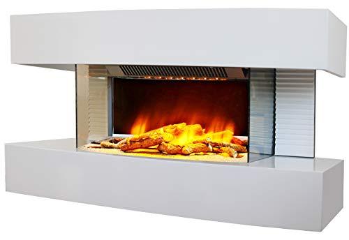 Chemin'Arte 185 Lounge Wandkamin, mittelgroß, weißes Design, 82 x 21 x 42 cm