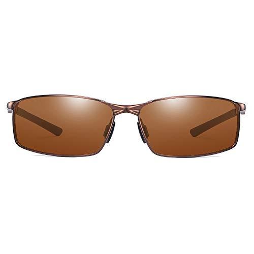 ZHHk Gafas de Sol Nuevas Gafas De Sol De Metal Polarizadas Salvajes. Gafas De Sol De Hombre Verde/Marrón/Azul. (Color : Brown)