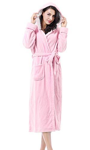 Women's Plush Fleece Long Robe with Hood, Warm Comfy Fluffy Bathrobe,Pink
