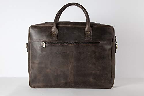 HOLZRICHTER Berlin - Briefcase (M) Premium Aktentasche aus Leder - Handgefertigte Große Laptoptasche - Ledertasche für Herren und Damen - dunkel-braun