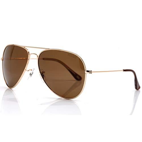 vegoos Gafas de sol de aviador para hombres y mujeres, lentes de sol polarizadas con espejo, protección UV400, para mujer, Marrón (dorado, marrón (Gold Frame/Brown Lens)), Large