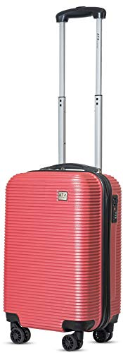 21' Super Lightweight Durable Hard Shell ABS Carry On Cabin Hand Luggage Suitcases Travel Bag with 4 Wheels & Built-in 3 Digit Combination Lock for EasyJet, BA, Jet2 (21' Carry-on, Dusky Pink 119)