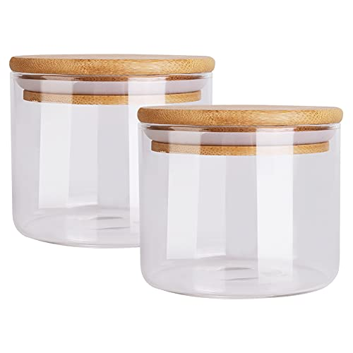 Juego de 2 tarros de cristal con tapa de bambú, herméticos, para cocina, té, especias, 450 ml