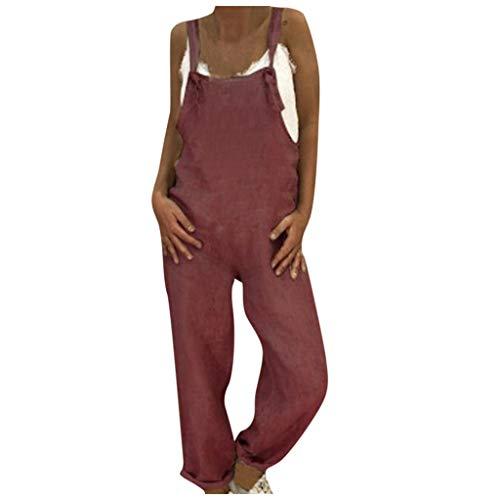 Binggong - Mono largo de verano para mujer, con aspecto de lino, estilo retro, con bolsillos beige Vino 3 medium