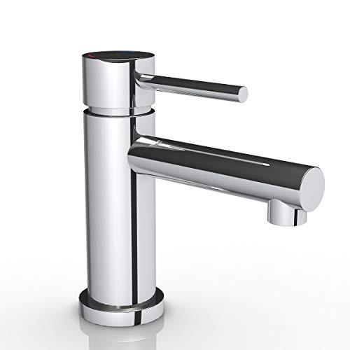 Grifo de lavabo Latón, Cromado.Grifo para baño, Agua Fría y Caliente, Mezclador Monomando para Lavabo,Cartucho 35 mm (normal basin)