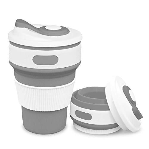 折りたたみカップ 携帯シリコンカップ 350ml 耐熱コーヒーカップ 蓋付き トラベルカップ アウトドア 旅行 出張 自宅用 食洗機対応 FDA認定 BPAなし (グレー)