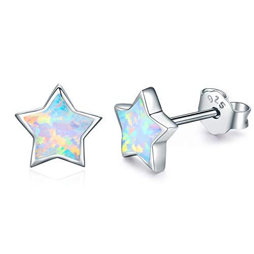 Kinder Ohrringe Sterne Silber 925 Sterling Silber Opal Ohrringe Knorpel Ohrringe Muttertag Geschenke für Frauen Stern Ohrringe Silber Mädchen