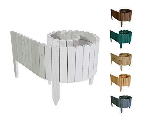 Floranica® Flexibler Beetzaun 203 cm (kürzbar) aus Holz | als Steckzaun Rollborder | Beeteinfassung | Kanteneinfassung |Rasenkante oder Palisade | wetterfest imprägniert, Höhe:10 cm, Farbe:Weiß