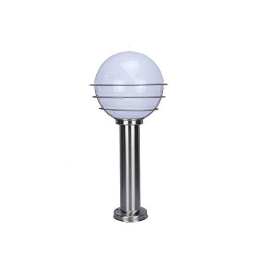 FCBUI 60CM Traditioneller mediterraner Ball Pole Beitrag Laterne im Freien wasserdichten Edelstahl Acryl Schatten-Rasen-Licht OutsideLandscape Gartendeko Poller Säule Lampe E27