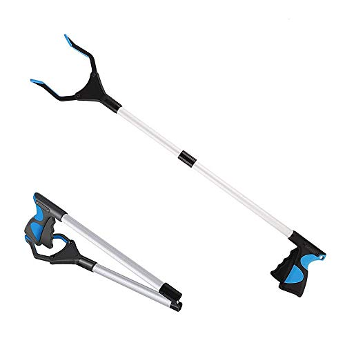 32 Inches Long Grabber Reacher - Helps Pick Up Small Objects - Fitted with Post to Assist with Dressing - Mobility Aid Reaching Assist Tool, Arm Extension (Blue, 1 Pack)
