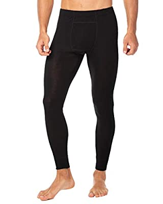 LAPASA Men's 100% Merino Wool Thermal Underwear Pants Long John Leggings Base Layer Bottom M30 (Large, Black)