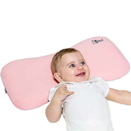 Koala Babycare® Cuscino Neonato Plagiocefalia 0-36 Mesi Sfoderabile (con due Federe) per il lettino - Prevenzione e Cura della Testa Piatta in Memory Foam Antisoffoco - Rosa - Design Registrato KBC®