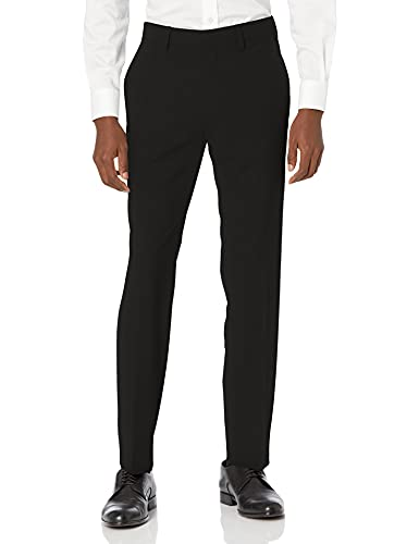 Kenneth Cole REACTION Men's 4-Way Stretch Solid Gab Slim Fit Dress Pant, Black, 34Wx32L