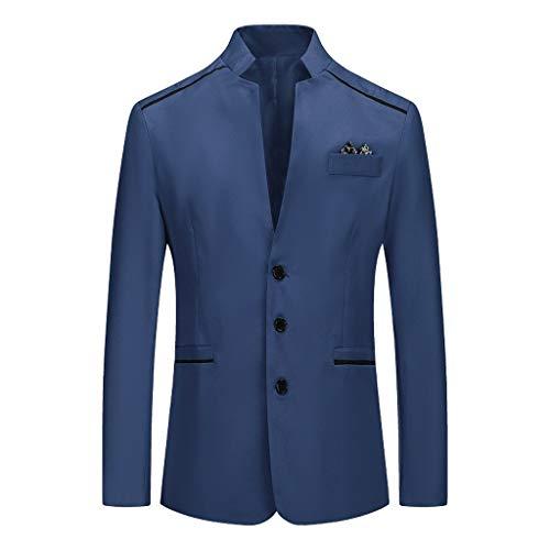 Yowablo Blazer Klassischer Herren Anzugjacke Baukasten Herren Slim Fit Anzugjacke EIN Knopf Sakko für Business (L,Marine)