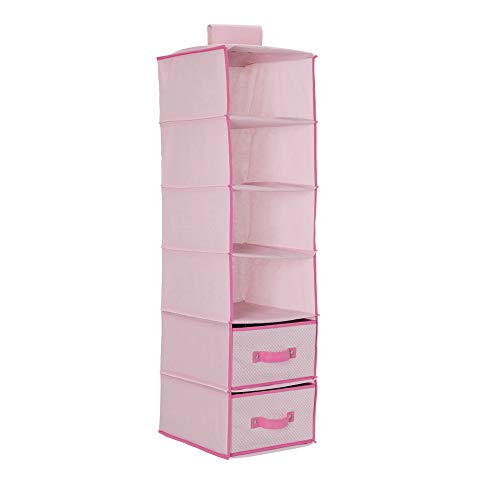 Delta Children 6 Shelf Hanging Wall Storage with 2 Drawers - Easy Storage/Organization Solution- Holds Sweaters, Shirts, Pants, Accessories & More - Movable Drawers Allow for Customization, Pink