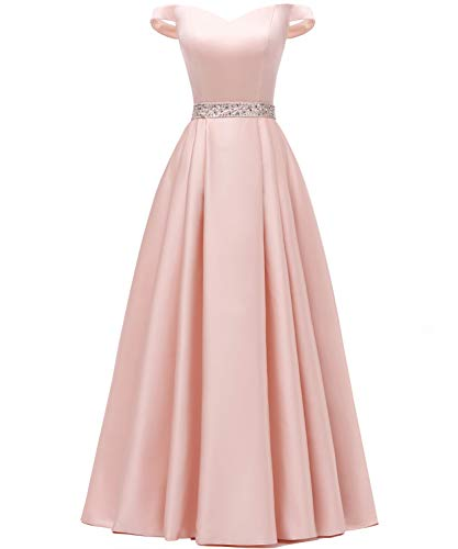 YORFORMALS Women's Off The Shoulder A-line Beaded Satin Prom Dress Long Evening Ball Gown with Pockets Size 12 Blush Pink