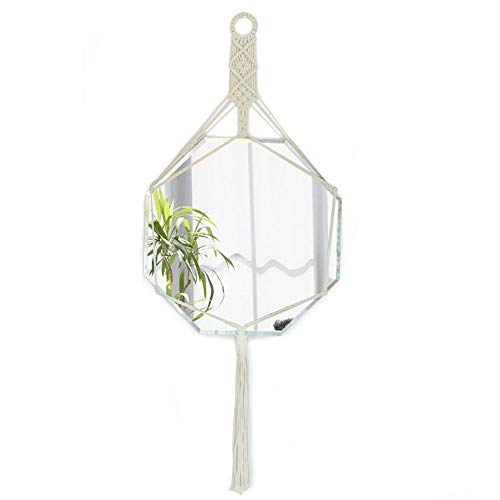 Espejo de Pared Decorativo Redondo, ratán Natural, Boho Chic, Estilo nórdico, para Pasillo o baño, Espejo de vanidad de Metal, Espejo Colgante
