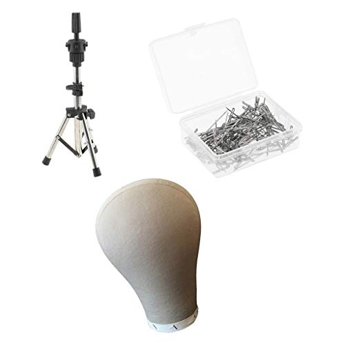 """Milageto 24""""Cork Block Head Cover Wig Making Mannequin with 100PCS T-pin & Holder"""