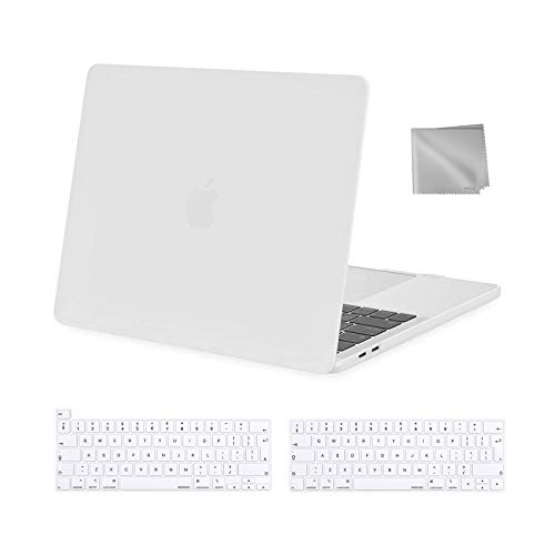 MOSISO MacBook Pro 13 inch Case 2016-2021 Release M1 A2338 A2289 A2251 A2159 A1989 A1706 A1708, Plastic Hard Shell Case&Keyboard Cover&Wipe Cloth Compatible with MacBook Pro 13 inch, White