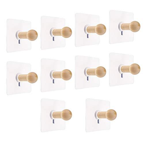 Yinettech - Confezione da 10 ganci adesivi in legno per appendere cappelli, cappotti, asciugamani, chiavi, porte, armadio, cucina, bagno