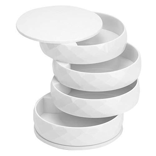 Snufeve6 Caja de Almacenamiento de Joyas, Caja organizadora de Joyas de tamaño pequeño, Sencilla y Moderna, Que Ahorra Espacio para Guardar Anillos, Pendientes, Pulseras(Blanco)