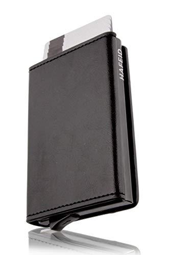 HAFEID portafoglio uomo slim - porta carte di credito schermato - portacarte di credito - portatessere smart - porta tessere donna - RFID blocking wallet nero