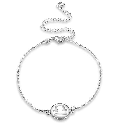 Thumby Vrouwelijke Populaire ronde Koper Enkel Mode Constellatie Enkel Weegschaal Enkel, zilver