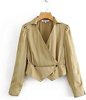 YXHM A Spring New Women's Ins Super Fire Street Shooting French Army Green Satin Small Shirt Long-Sleeved Shirt (Color : Apricot, Size : L)