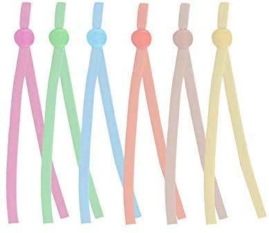 Surfilter verstellbar elastisch Cord, Anti-Slip Earloop Schnallenriemen, Earband Drawstring, Seil für Heimwerker Nähen, Geeignet für Erwachsene und Kinder - 120 PCS 6 Macaron